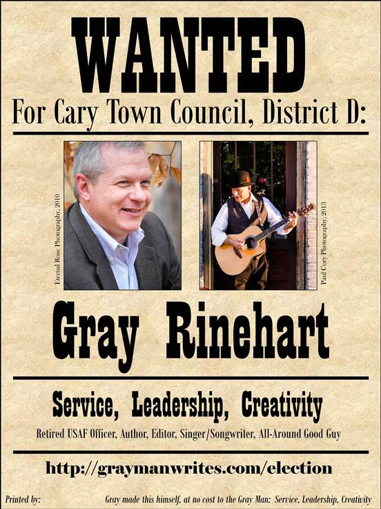 Gray Rinehart 2015 Town Council Campaign Flyer